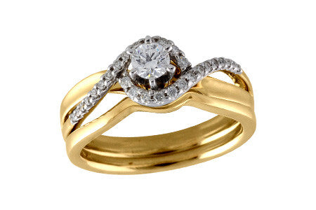 Allison-Kaufman 14K Two Tone Gold Diamond Engagement Ring Set