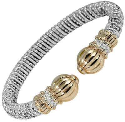 Vahan Two Tone and Diamond Open Bangle Bracelet