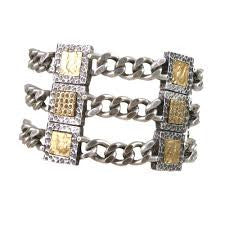 BRINDIS THREE CHAIN AND FRAME BRACELET