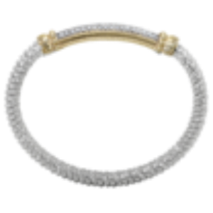 Vahan Diamond Bar Bangle Bracelet in Silver and 14KY Gold