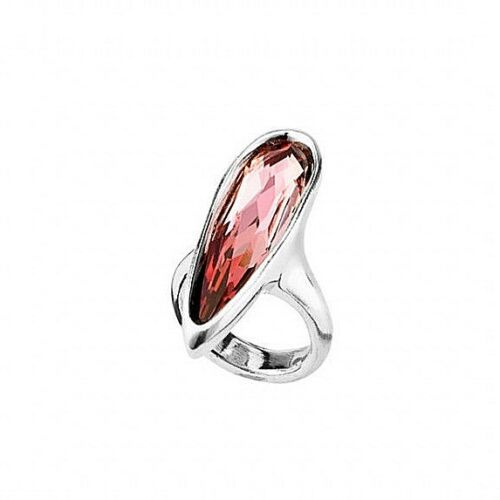 UNO de 50 LOVE HER Silver Ring w/ Pink Pear Shaped Crystal