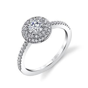 Sylvie 14K White Gold Round Double Halo Engagement Ring