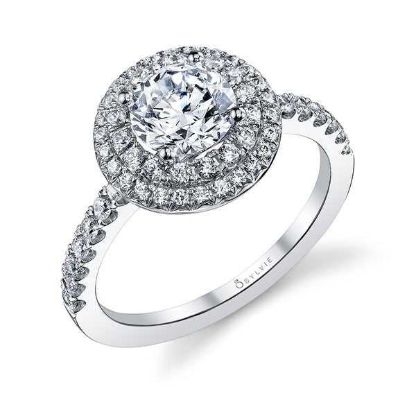 Sylvie 14K White Gold Double Halo Diamond Engagement Ring