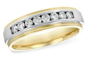 Allison-Kaufman 14K Two Tone Gold  Diamond Mens Ring