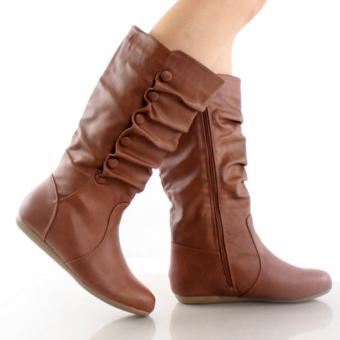 Bank-78 Button Slouchy Mid-Calf Boots