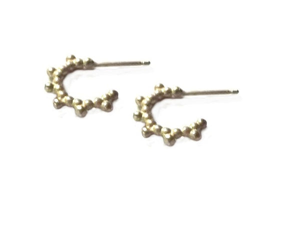 Spike  beaded hoops - Silver 925