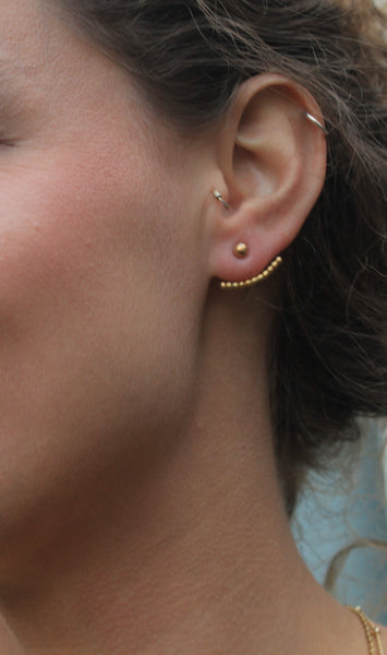 Dot ear jacket earrings in sterling silver and 24k gold or 18k rose gold plate on sterling silver
