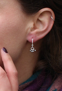 Tiny ball charm hoop earrings