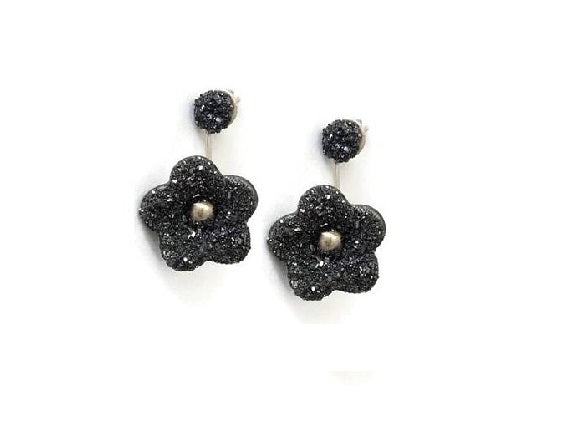 Black flower ear jacket earring made with sterling silver and pyrite gemstones