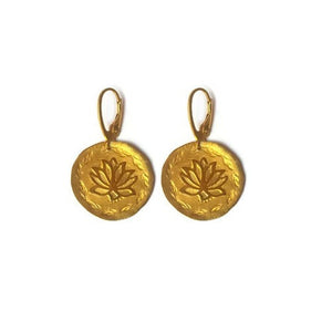 Goddess Fleur Lotus huggie hoop earrings