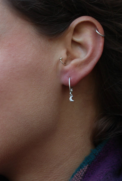 Moon charm hoop earrings - Silver 925 or 24 Carat Gold plate on top of Silver 925