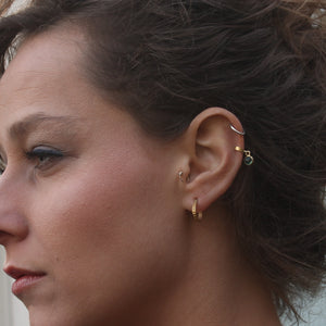 Green cartilage and tragus ear cuff earrings made with sterling silver and tourmaline stone