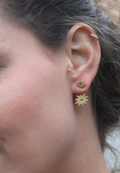 Bursting star ear jacket earrings made with sterling silver