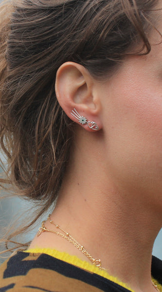 Stone bursting star ear climber earrings made with sterling silver