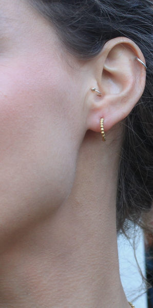 Beaded hoop earring in 18 carat gold plate on Sterling Silver