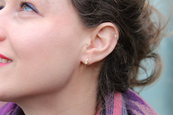Star cz hoop earrings