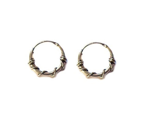 Tiny hoop earring in tribal style made with Sterling Silver 925