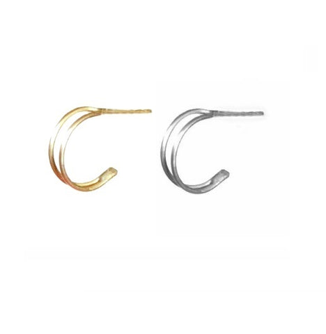 Double hoop earrings - Silver 925 or 24k Gold Plate