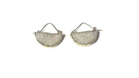 Gold druzy moon earrings