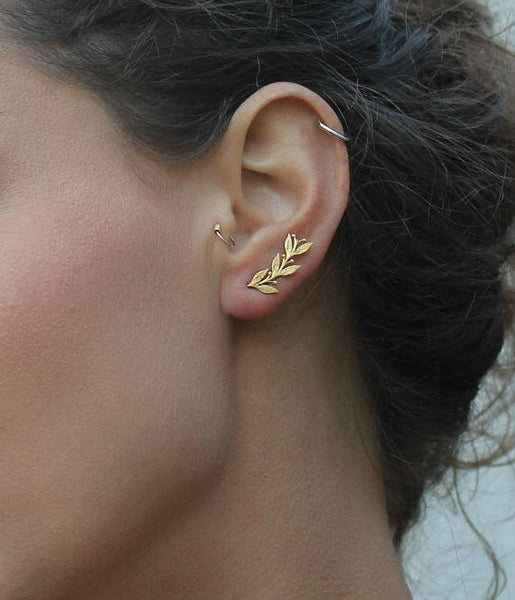 Flower ear crawler cuff earrings