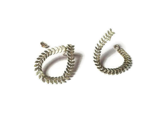 Drop leaf ear jacket earrings made with Silver 925