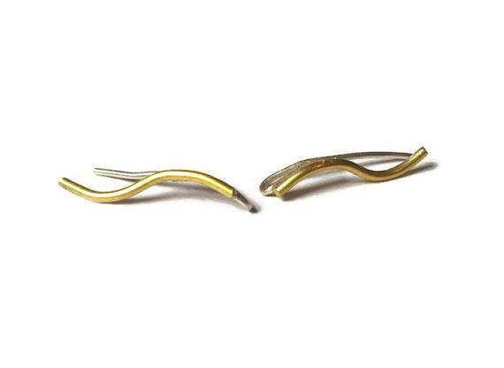 Curved climber sweep earrings in Sterling silver or 18K gold plate