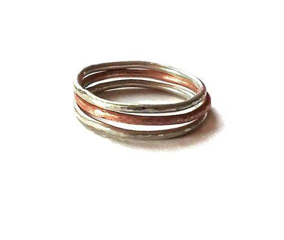Stacking rings made of Sterling silver 925 and Rose gold plate