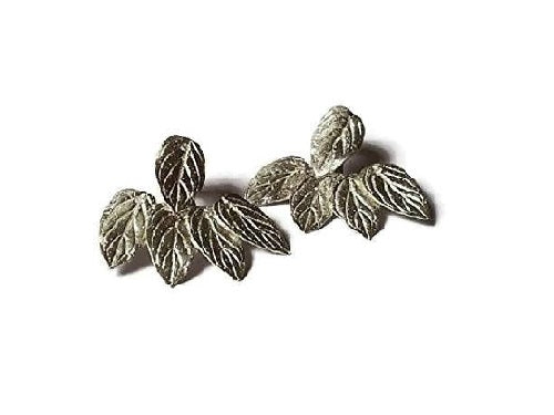 Leaf ear jacket earrings sterling silver 925