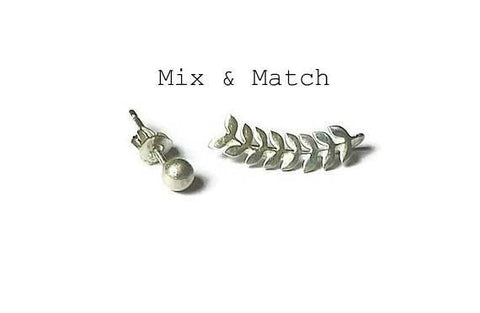 Mix and match leaf ear climber with tiny ball stud earring