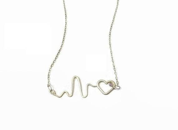 CZ heartbeat necklace - Sterling silver 925