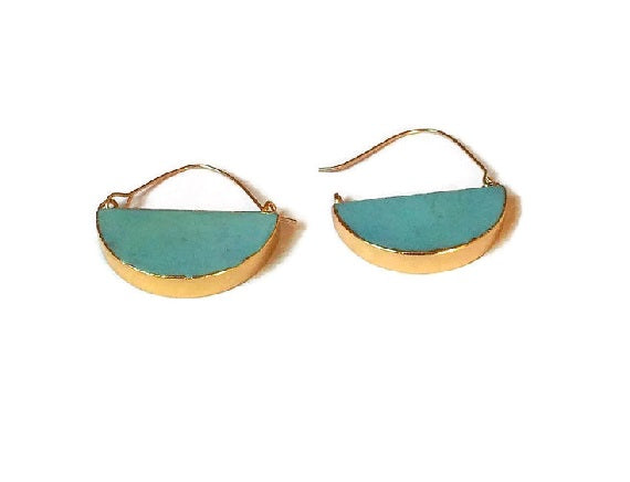 Turquoise moon hoop earrings