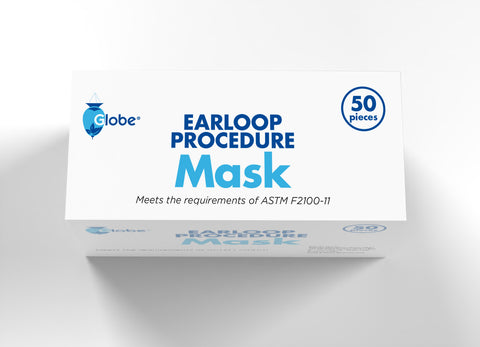 GLOBE Earloop Procedure Face Mask 3-Ply 50 pc/Box
