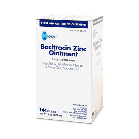 Globe Bacitracin Zinc Ointment, 0.9 gr Packets (Box of 144)