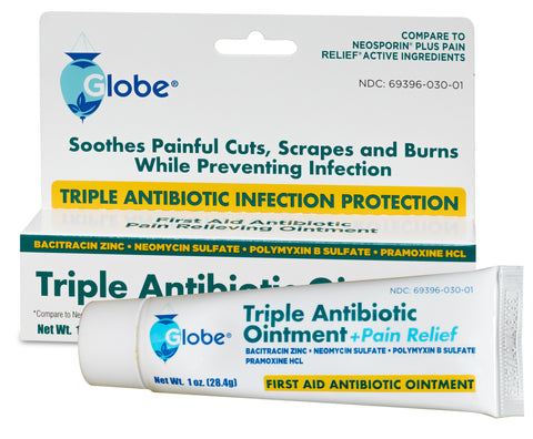GLOBE Triple Antibiotic + Pain Relief Dual Action Ointment, 1 Oz (Compare to Neosporin) (1 PACK)
