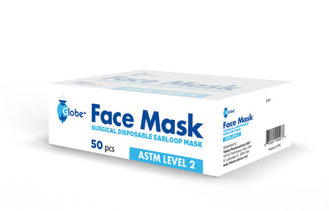 Globe Disposable 3 Ply Surgical Face Mask ASTM Level 2- 50pc/Box