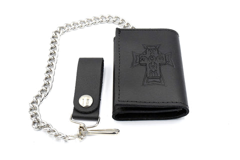Dogtown Small Trifold Leather Chain Wallet