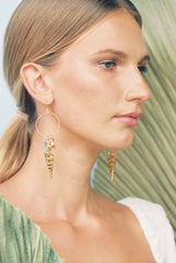 Gold Shell Hoop Earrings