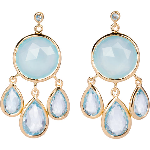 Topaz and Aqua Chalcedony Earrings