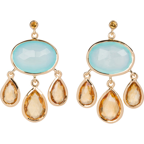 Citrine and Aqua Chalcedony Earrings