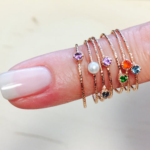 Mini Stacking Gemstone Rings