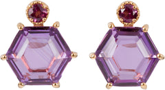 Brazilian purple amethyst and Garnet Studs