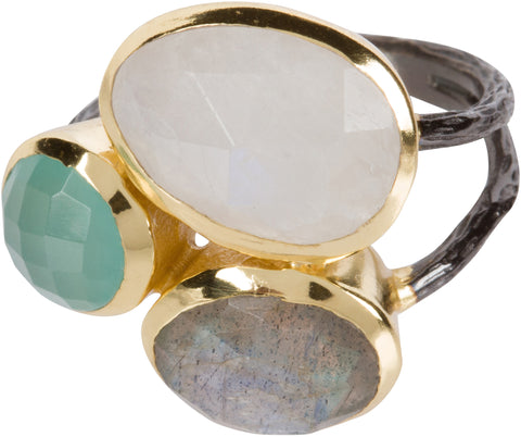 Moonstone, Labradorite and Aqua Ring