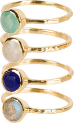 4 stacking rings (aqua, moonstone, labradorite, lapis)