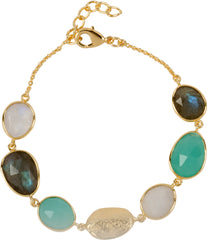 Labradorite, moonstone, aqua and gold nugget Bracelet