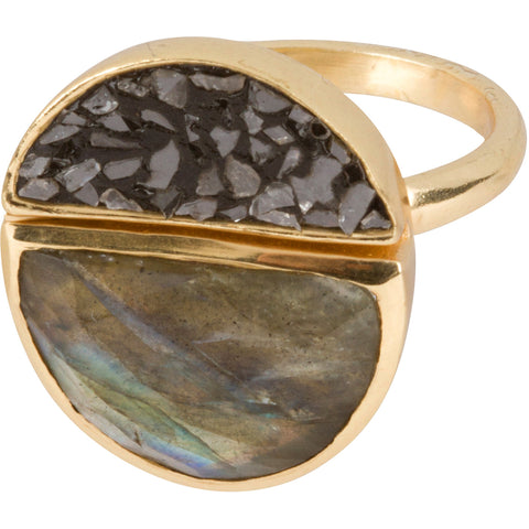 Lava Ring (Diamond and Labradorite)