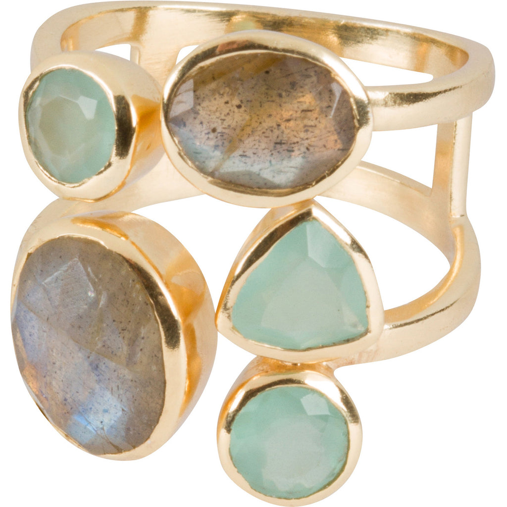 Labradorite, and Aqua Multi-band Ring