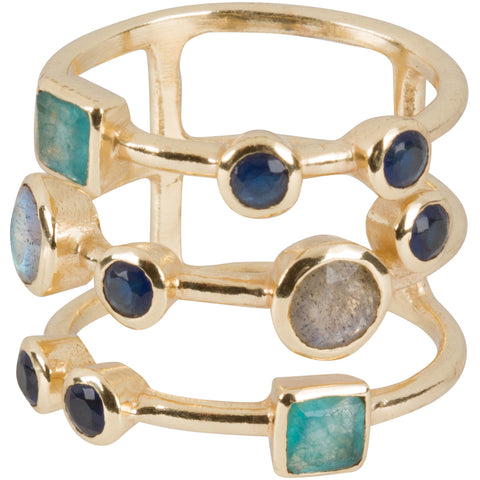 Apatite, Labradorite and Sapphire Multi-band Ring