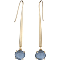 Iolite gold bar earrings