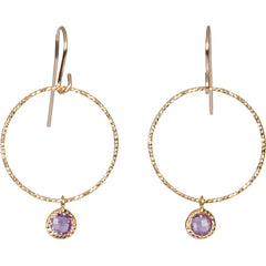 Purple Amethyst Gem Hoop Earrings