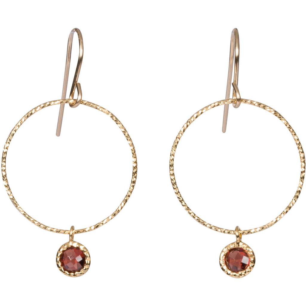Garnet Gem Hoop Earrings